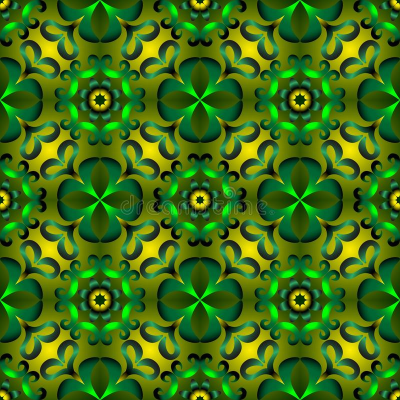 Seamless endless pattern of green and yellow colors for fabric or ceramic vector illustration