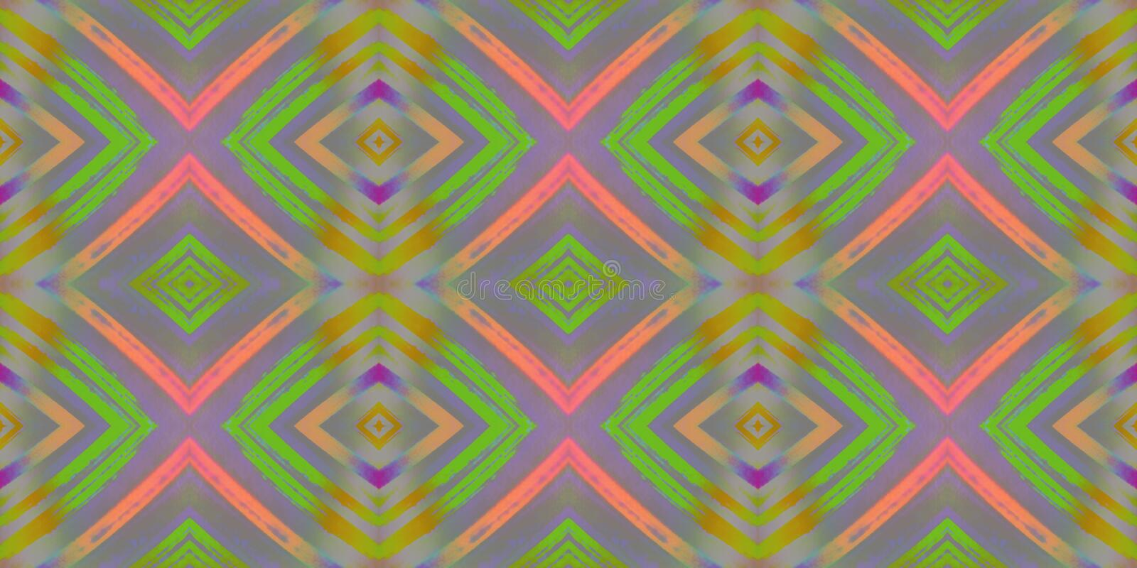 Seamless endless repeating bright ornament of multi-colored geometric shapes royalty free illustration