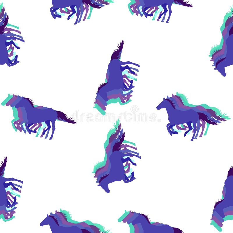 Seamless equestrian vector pattern with running horses in cold colors royalty free illustration