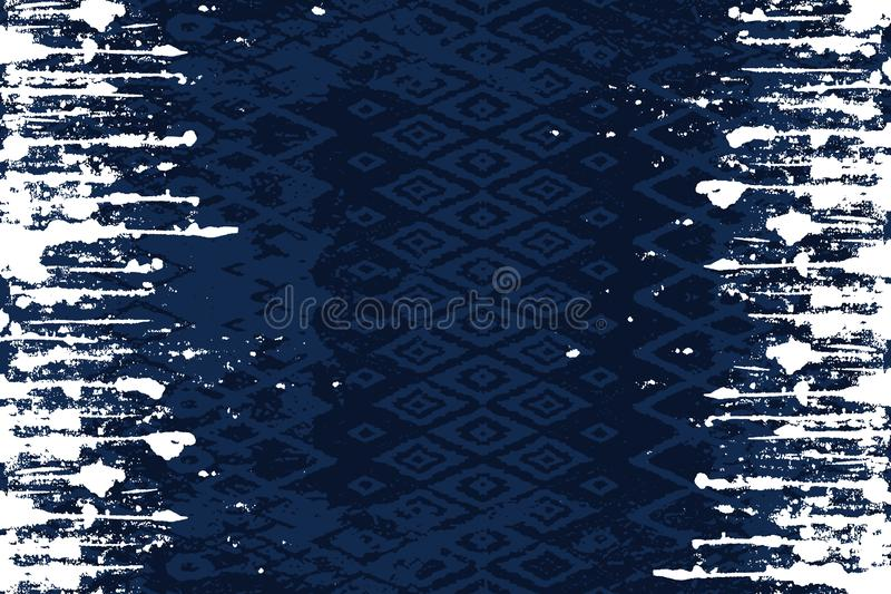 Seamless ethnic design on dark blue background with white lines on two sides. stock illustration