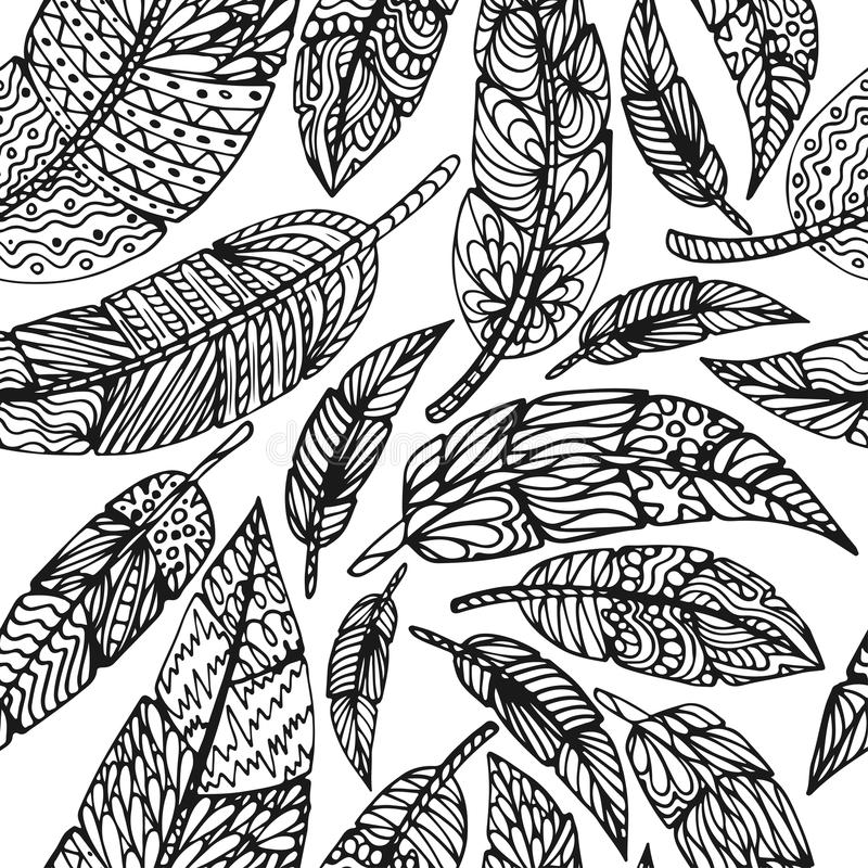 Seamless Ethnic feathers. Tribal Feathers Vintage Pattern. Hand Drawn Doodles illustration royalty free illustration