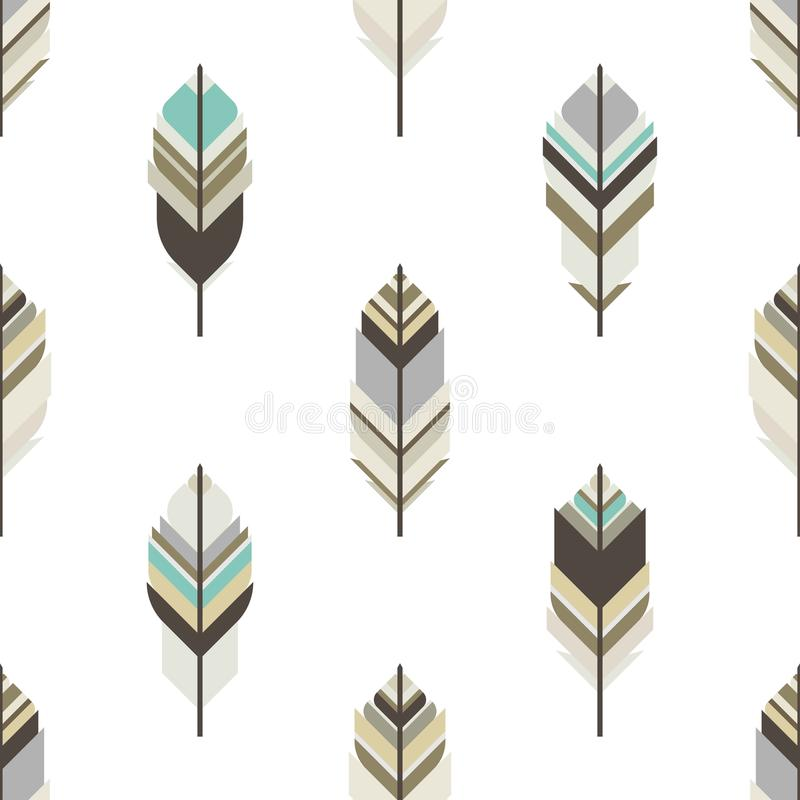 Seamless ethnic geometric pattern with feathers of wild birds on white background. Indian ornament. stock illustration