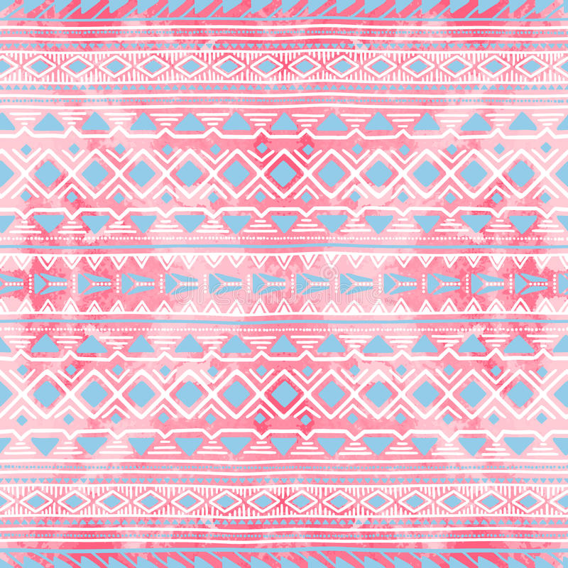 Seamless ethnic ornament. Watercolor texture. White, pink and bl vector illustration