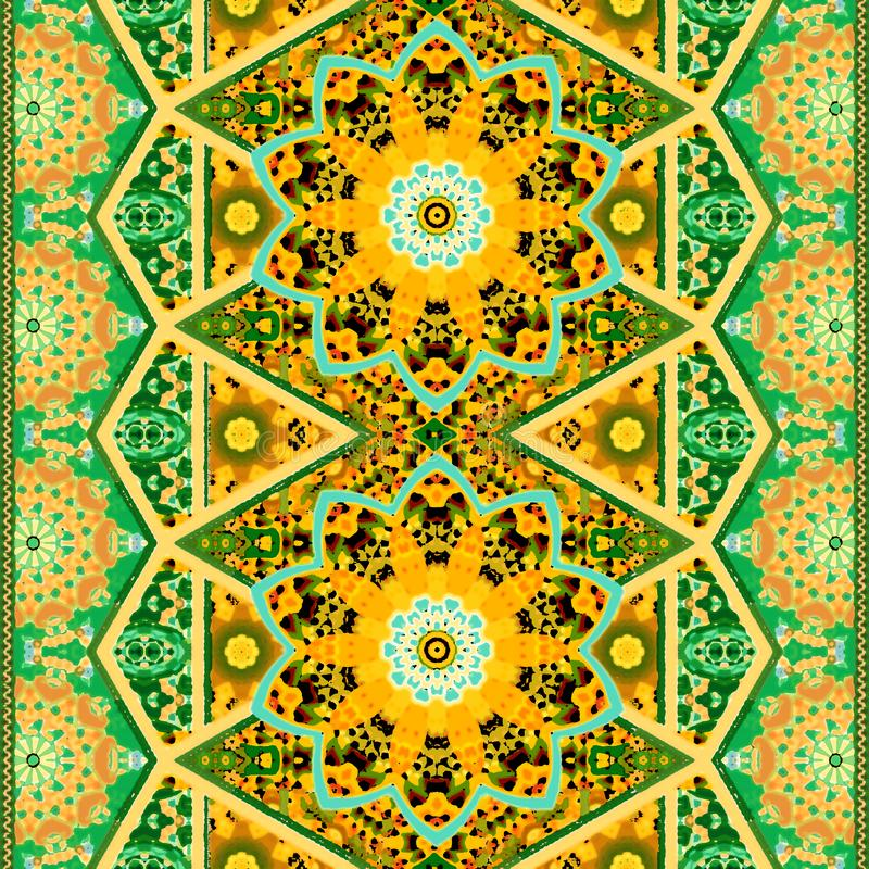 Seamless ethnic ornamental pattern with mandala flower and beautiful zigzag border in green and orange tones. stock illustration