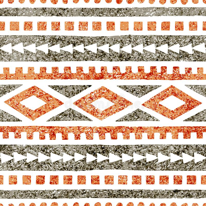 Seamless ethnic pattern. Geometric ornament drawn in pencil. Gray and orange shades on a white background. Vector illustration royalty free illustration