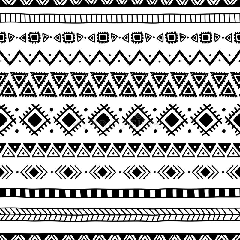 Seamless ethnic pattern. Handmade. Horizontal stripes. Black-and-white print for your textiles. stock illustration