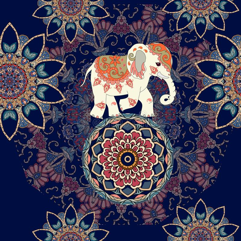 Seamless ethnic pattern with mandala flowers and indian elephant on the ball stock illustration