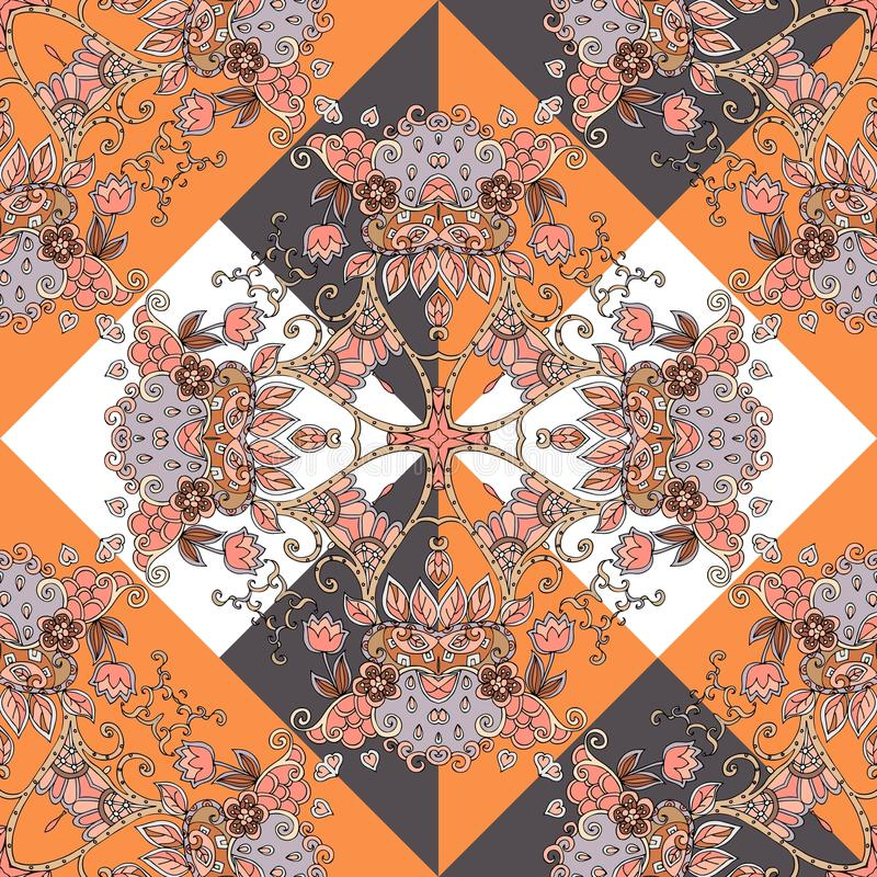 Seamless ethnic pattern in orange, brown, white, black and grey colors with hearts and flowers. stock illustration