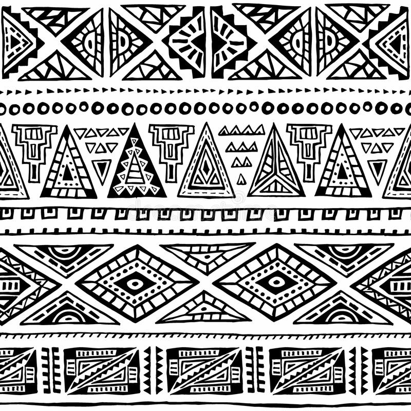Seamless ethnic pattern. Ornament hand-drawn ink. Tribal motifs. vector illustration