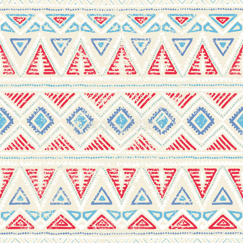 Seamless ethnic pattern. Ornament in tribal style. Grunge texture. Vintage print. Red, white and blue geometric elements. vector illustration