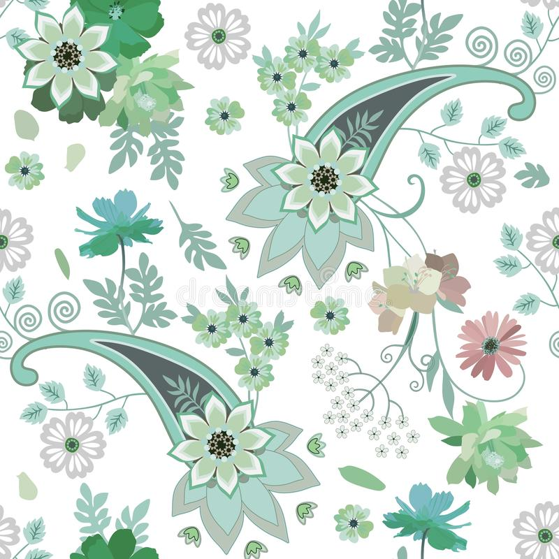 Seamless ethnic pattern with paisley, mandala and garden flowers in green tones on white background. Indian, persian motifs. Seamless ethnic pattern with paisley vector illustration