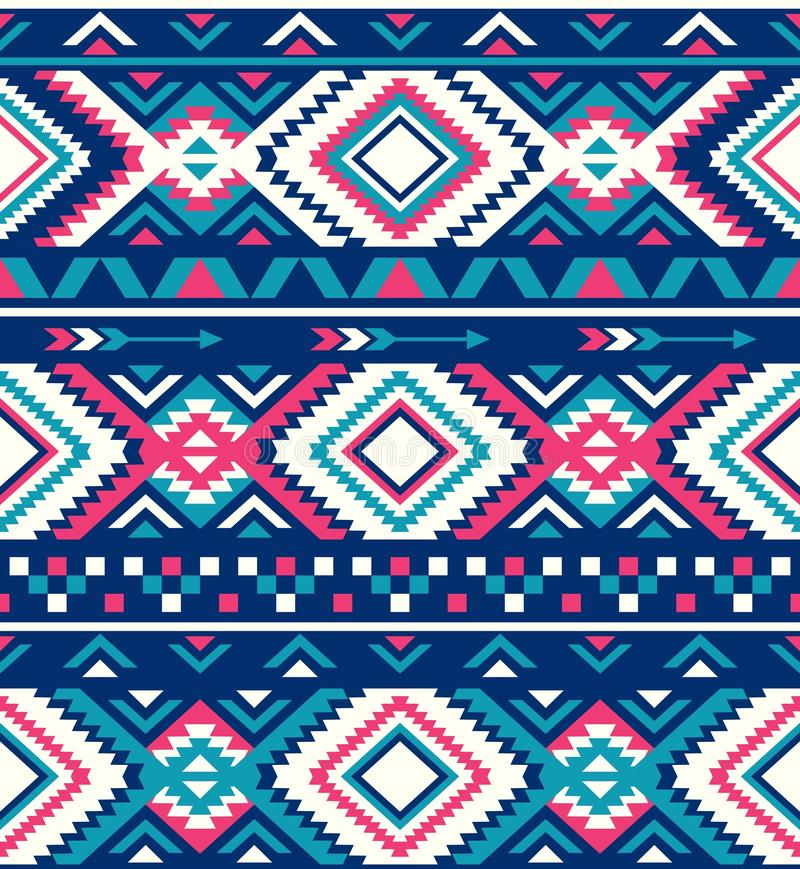 Seamless Ethnic pattern textures. Native American pattern. Pink and Blue colors royalty free stock photo