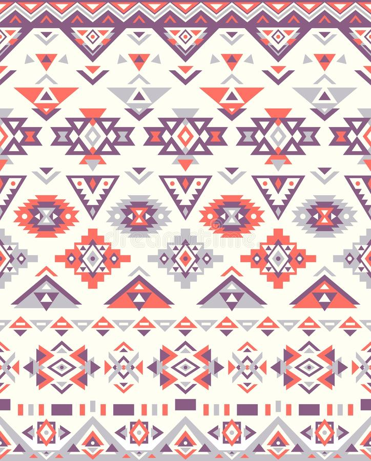 Seamless Ethnic pattern textures. Orange&Purple colors. Navajo geometric print. Rustic decorative ornament. royalty free illustration
