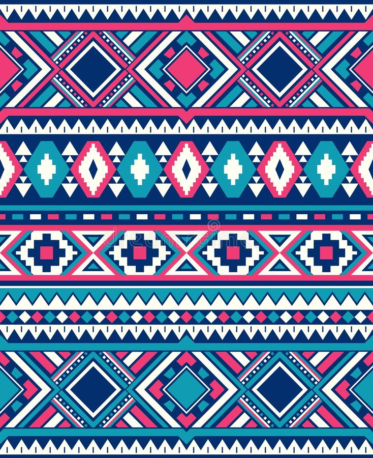 Seamless Ethnic pattern textures. Pink and Blue colors. Seamless Ethnic pattern textures. Abstract Navajo geometric print.Rustic decorative ornament. Native royalty free illustration