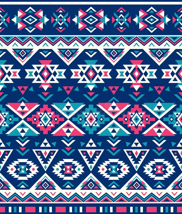Seamless Ethnic pattern textures. Pink & Navy colors. Navajo geometric print. Rustic decorative ornament. royalty free illustration
