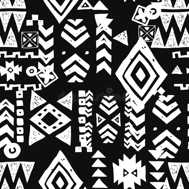 Seamless Ethnic pattern. Tribal vector abstract monochrome background. Tribal ethnic background. Geometric seamless pattern. Trendy print modern abstract stock illustration