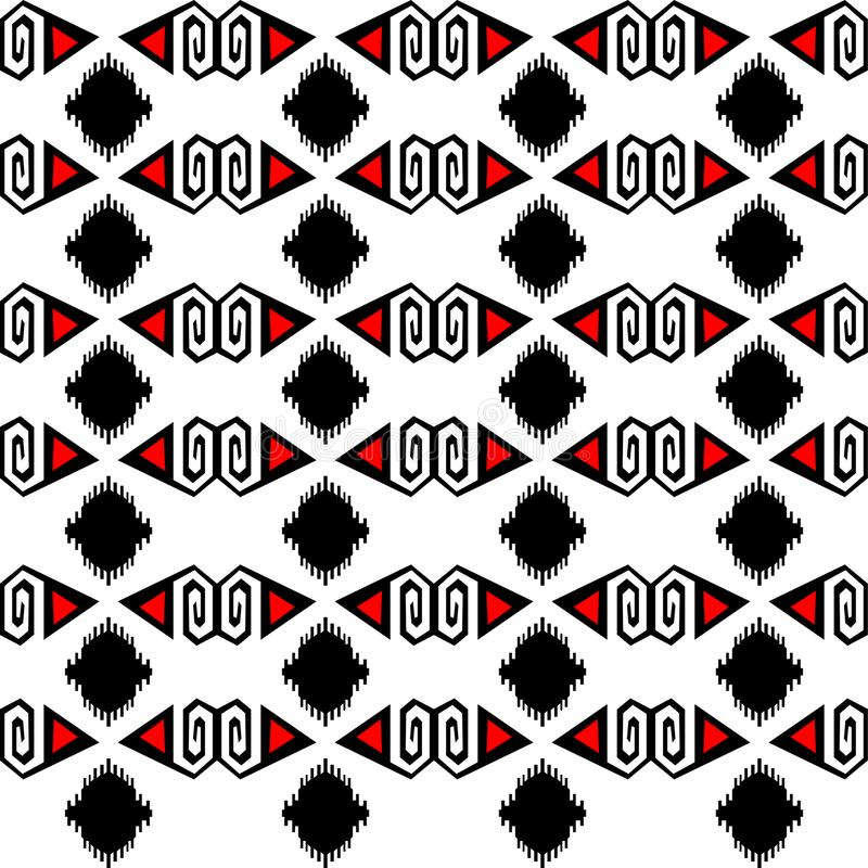 Seamless ethnic pattern vector traditional tribal geometric ornaments black red and white background design retro vintage bohemian vector illustration