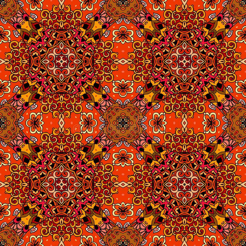 Seamless ethnic pattern in warm tones with red flowers on abstract geometric background. stock illustration