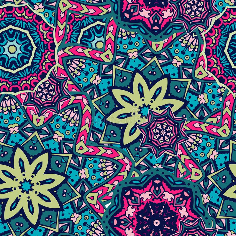 Free Seamless Ethnic Pattern With Floral Motives. Mandala Stylized Print Template For Fabric And Paper. Stock Image - 157969261