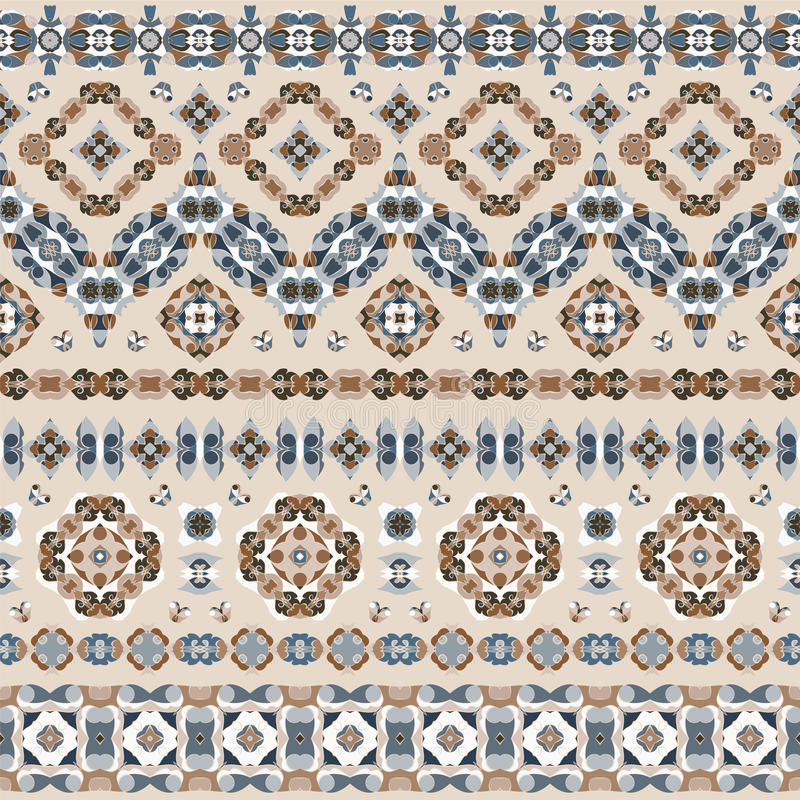 Seamless ethnic patterns. For border. Repeated oriental frieze motif for fabric or paper design vector illustration