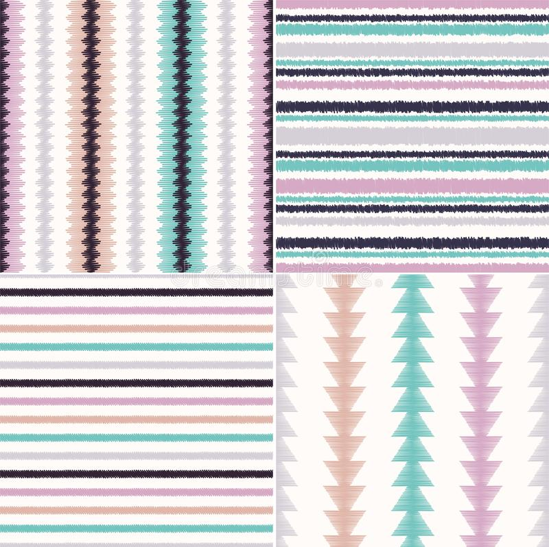 Seamless ethnic tribal ikat stripes background vector repeated folk pattern design vector illustration