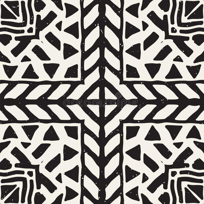 Seamless ethnic and tribal pattern. Hand drawn ornamental stripes. Black and white print for your textiles. Vector background. stock illustration