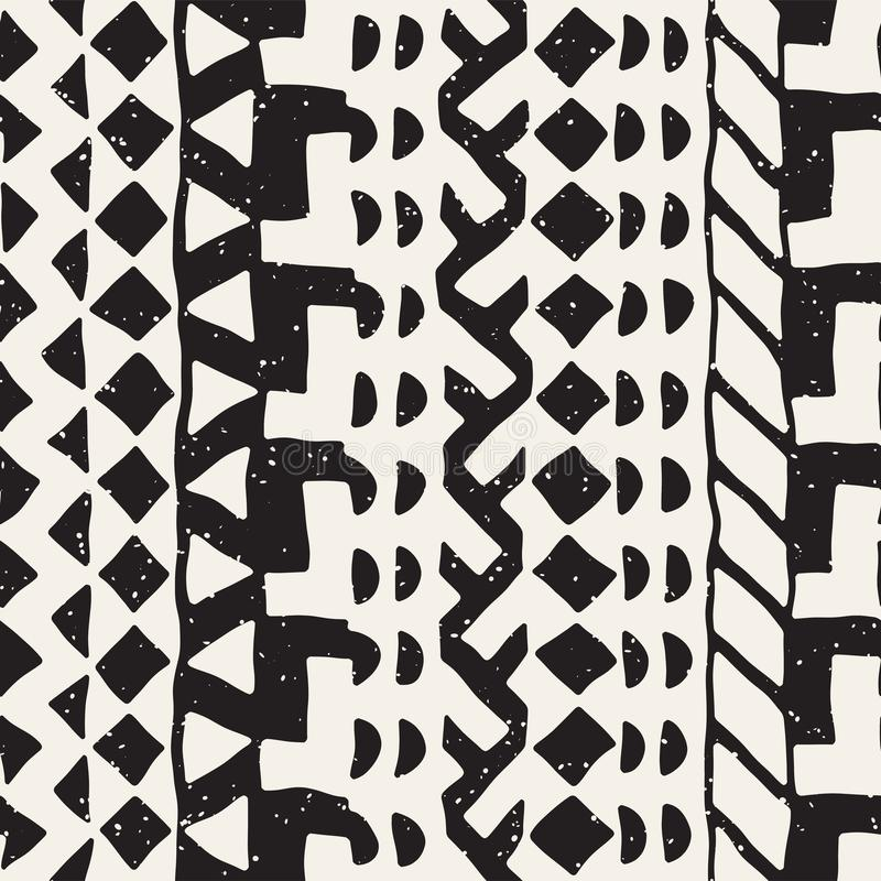 Seamless ethnic and tribal pattern. Hand drawn ornamental stripes. Black and white print. Vector geometric background. Seamless ethnic and tribal pattern. Hand stock illustration