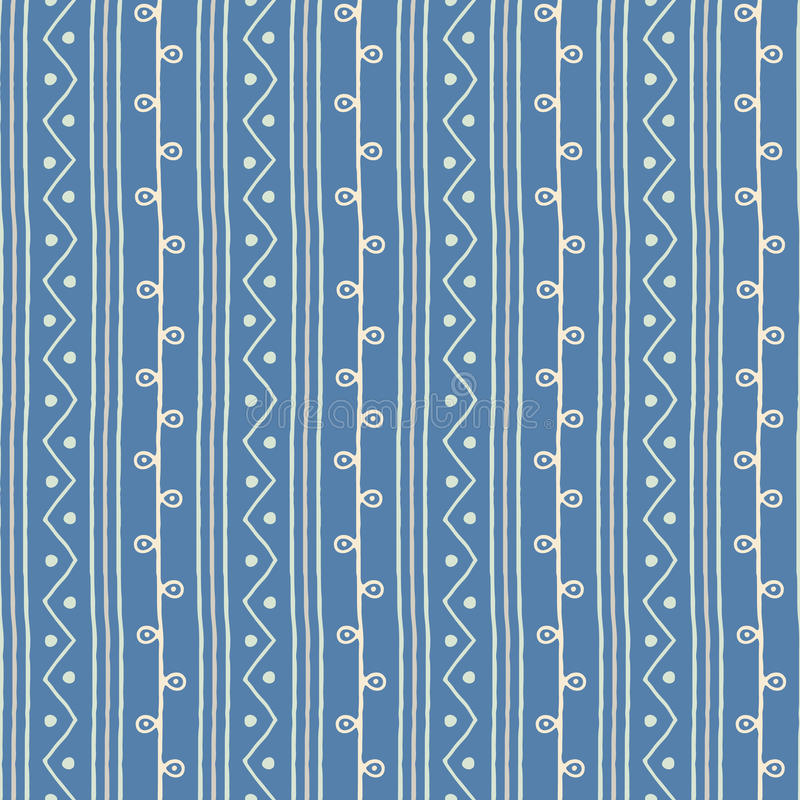 Free Seamless Ethnic Vector Pattern. Twigs Lines And Zigzags With Circles Blue And White Background. Hand Drawn Astract Texture Royalty Free Stock Photo - 88809335