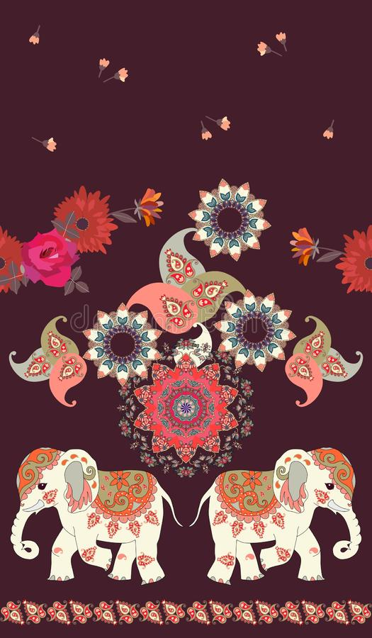 Seamless ethnic vintage pattern with cute cartoon indian elephants, mandala, flowers and paisley ornament on dark brown background stock illustration