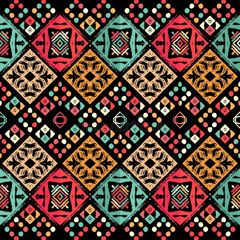 Seamless ethnic zigzag chevron tribal ikat pattern. Hand drawn colorful geometric background. Striped motifs. Vector illustration stock illustration