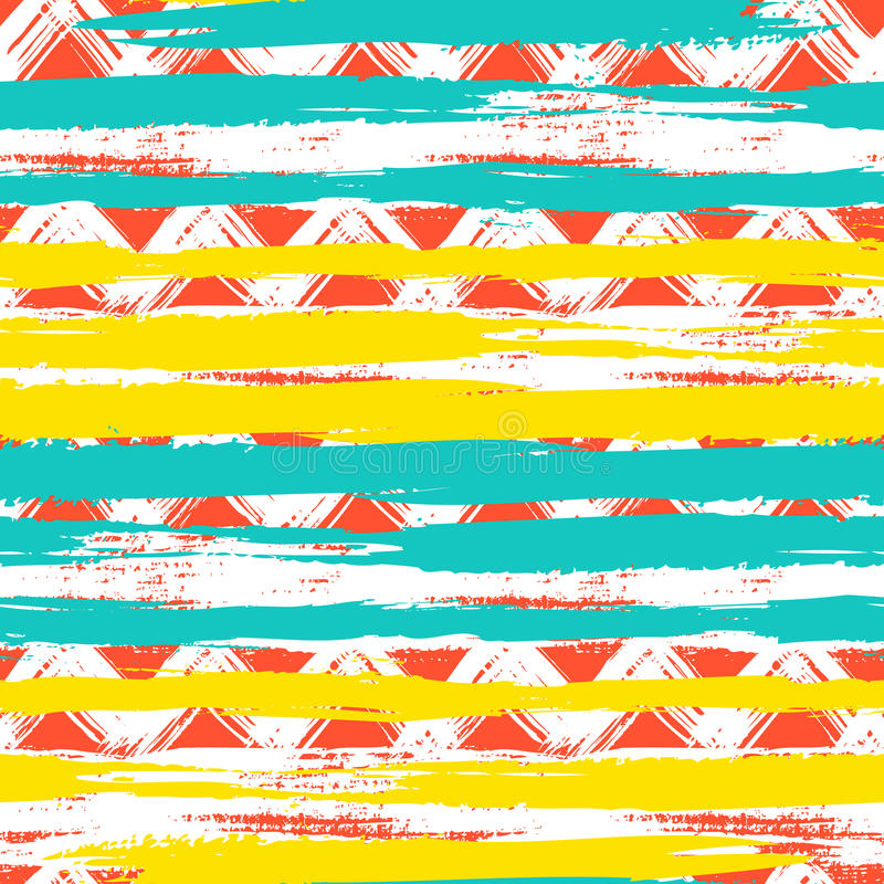 Download Seamless Ethnic Zigzag Pattern With Brushstrokes Stock Vector