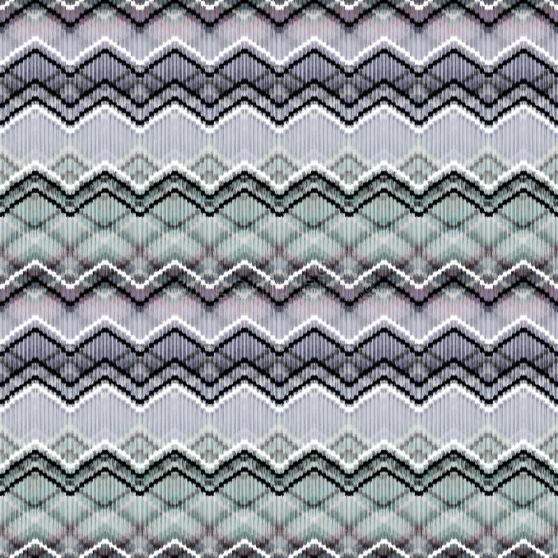 Seamless ethnic zigzag stripes pattern. Gray background. vector illustration