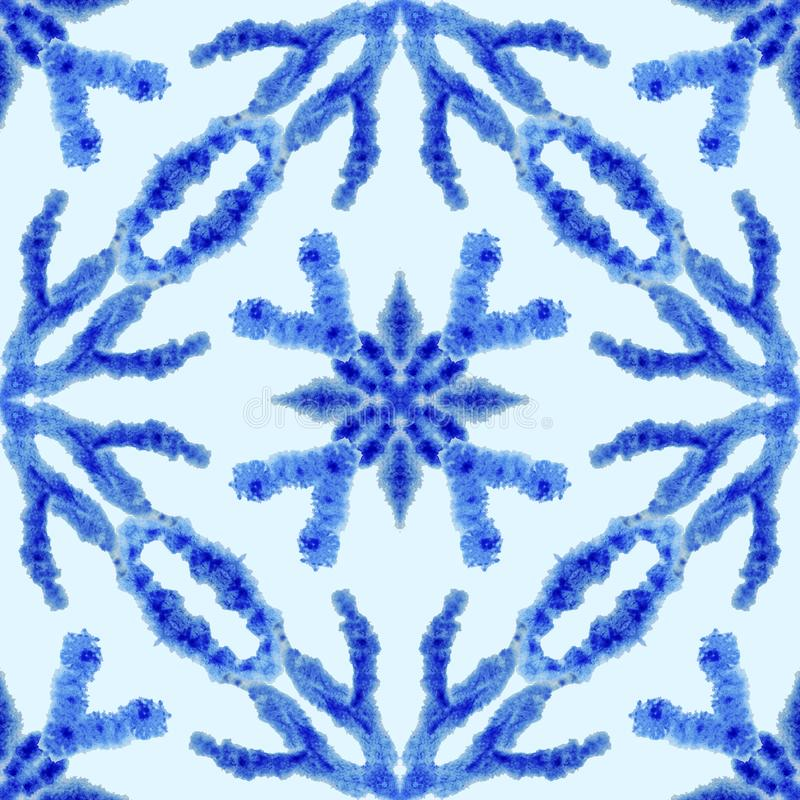 seamless etnisk modell Etnisk bohoprydnad Det abstrakta batikbandet färgade tyg, Shibori att färga upprepa f?r bakgrund vattenf?r stock illustrationer