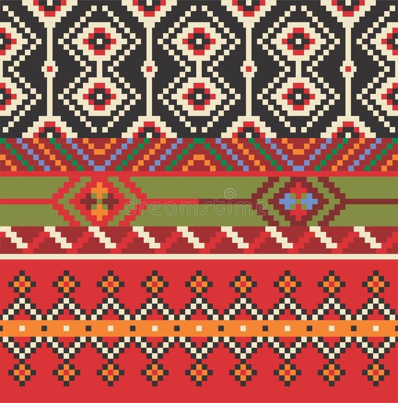 seamless etnisk modell Dekorativ prydnad för tyg, textil arkivbild
