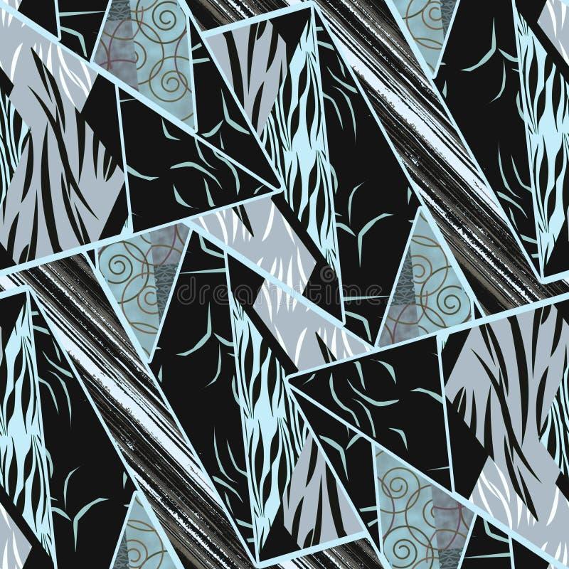 seamless etnisk modell patchwork Grå färger turkos, svart prydnad royaltyfri illustrationer