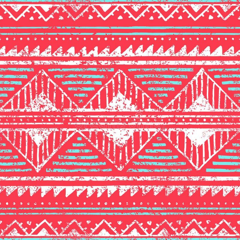 seamless etnisk modell Prydnaden i stam- utformar Grungetextur royaltyfri illustrationer