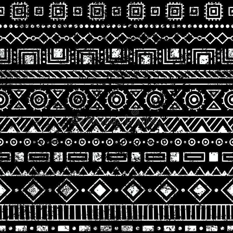 seamless etnisk modell Stam- och aztec motiv Grunge textur stock illustrationer
