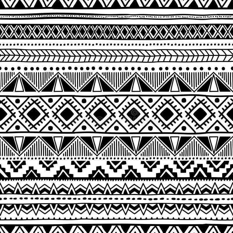 seamless etnisk modell Svartvit geometrisk prydnad stock illustrationer