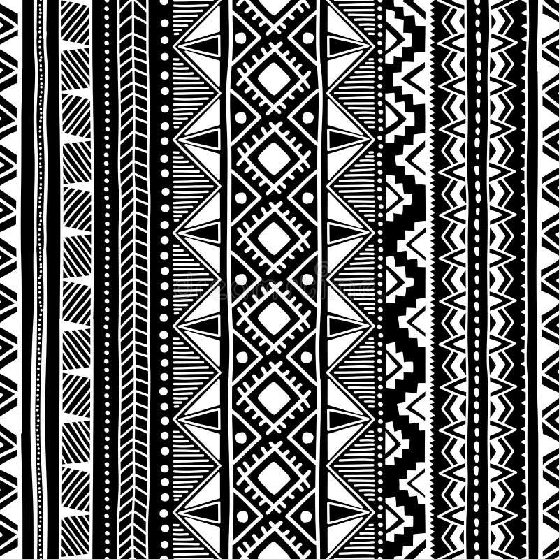 seamless etnisk modell Svartvit geometrisk prydnad Pri royaltyfri illustrationer