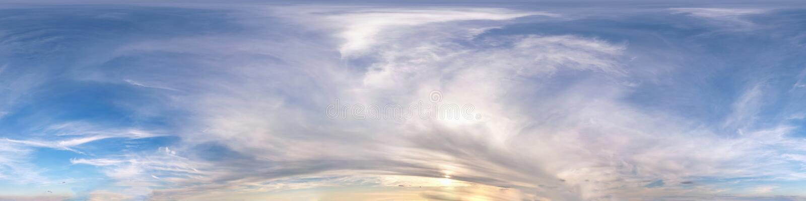 Seamless evening sky before sunset hdri panorama 360 degrees angle view with beautiful clouds  with zenith for use in 3d graphics. As sky dome or edit drone stock image
