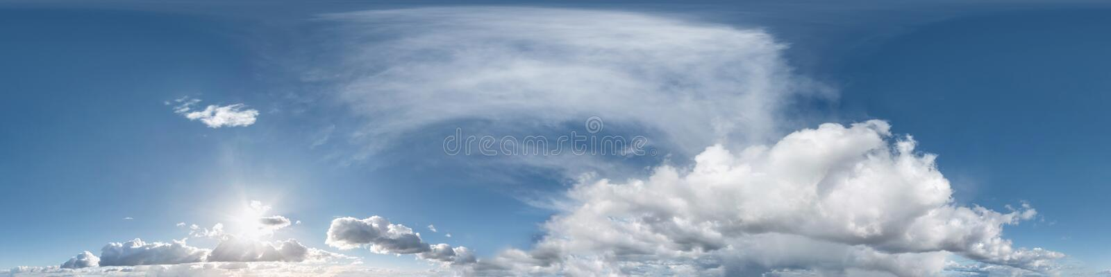 Seamless evening sky before sunset hdri panorama 360 degrees angle view with beautiful clouds  with zenith for use in 3d graphics. As sky dome or edit drone royalty free stock photo