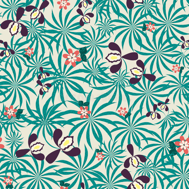Seamless exotic floral pattern stock illustration
