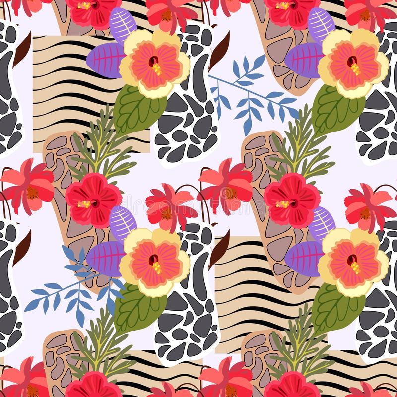 Seamless exotic patchwork pattern with stylized skin of zebra and leopard and tropical flowers and leaves. Print for fabric vector illustration