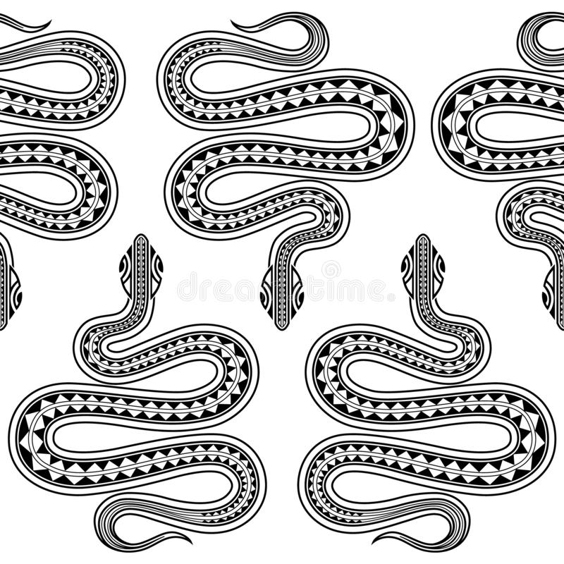 Seamless exotic pattern with snakes maori tattoo style. Animals background. Wildlife art illustration. stock illustration