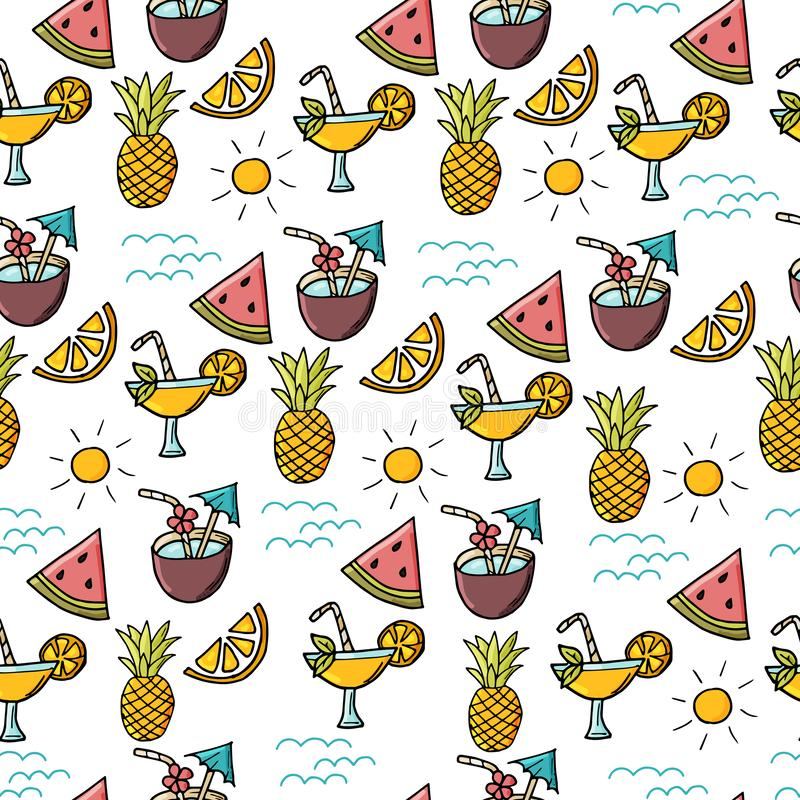 Seamless exotic pattern with tropical fruits and coctails. stock illustration