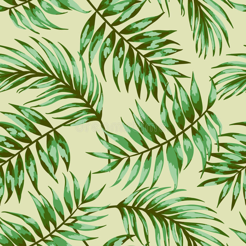Seamless exotic pattern. Seamless exotic pattern with tropical leaves on a beige background. Vector illustration. Vector illustration stock illustration