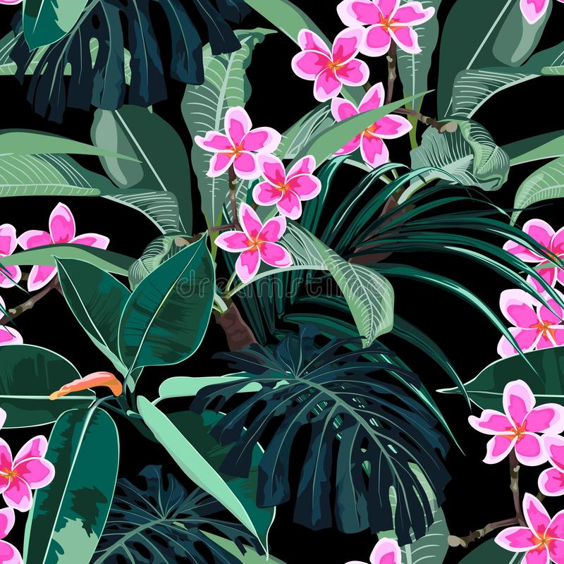 Seamless exotic pattern with tropical monstera palm leaves with bright pink plumeria flowers branch. vector illustration