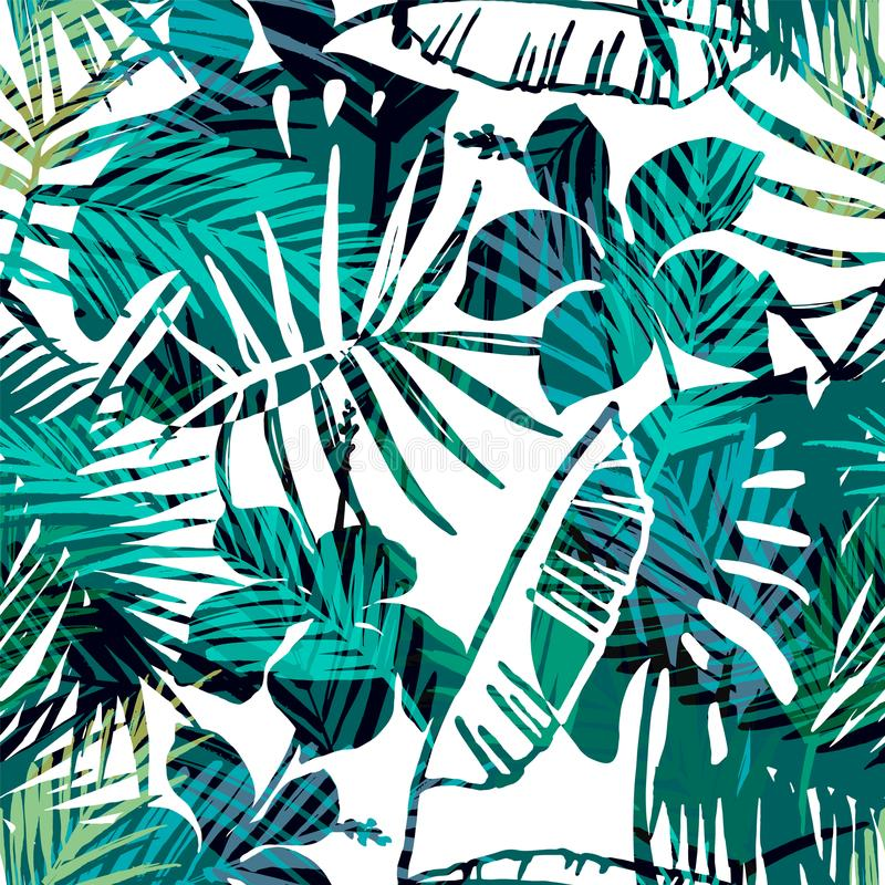 Free Seamless Exotic Pattern With Tropical Palm In Bright Color. Royalty Free Stock Images - 103294939