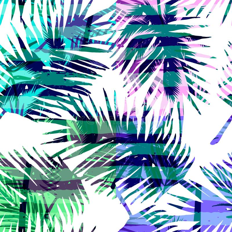 Free Seamless Exotic Pattern With Tropical Palm In Bright Color. Royalty Free Stock Photography - 103295017