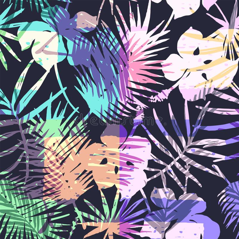 Free Seamless Exotic Pattern With Tropical Palm In Bright Color. Royalty Free Stock Photography - 103295047